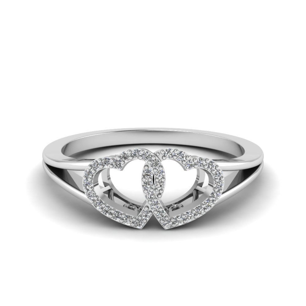 Interlinked Heart Design Diamond Promise Ring In 18K White Gold