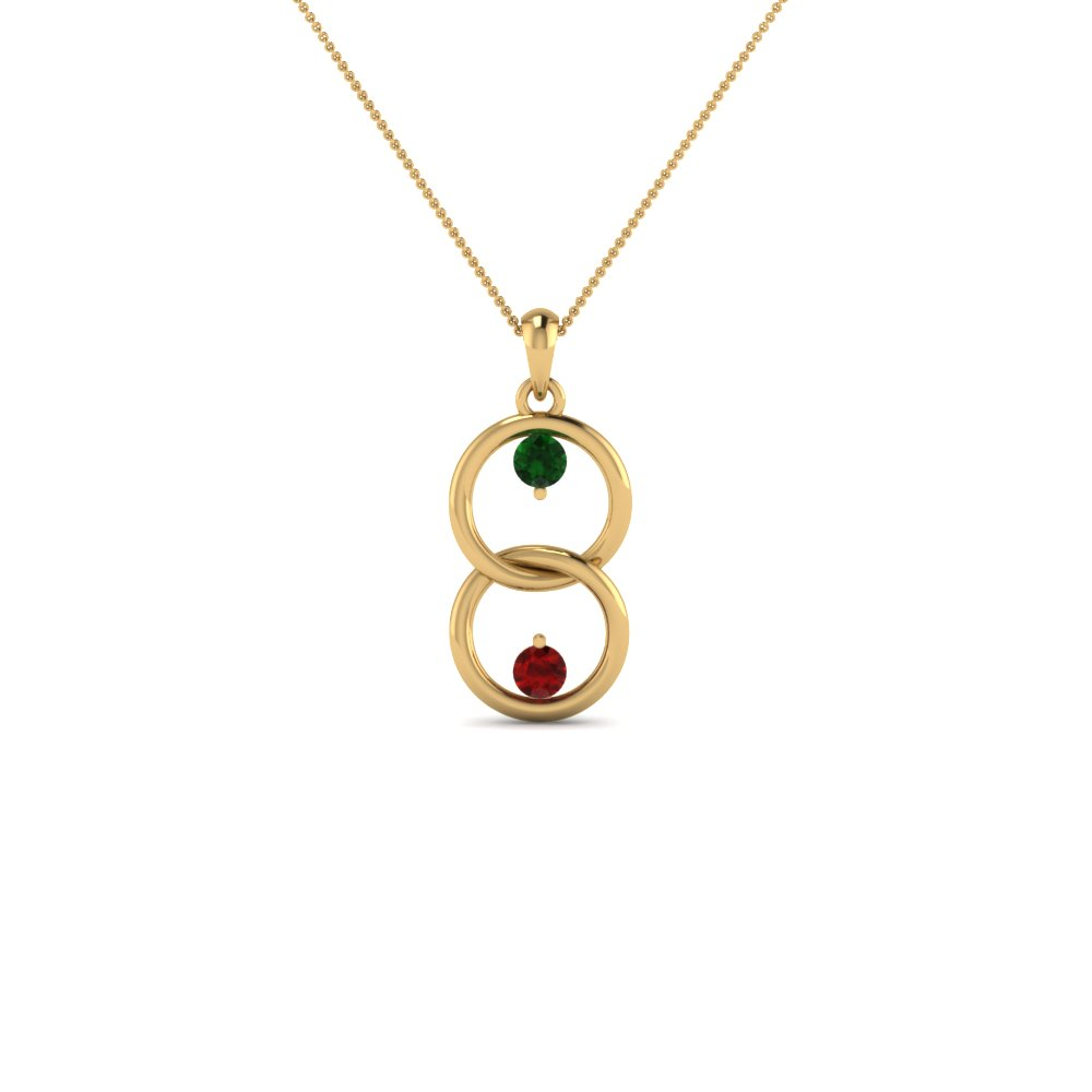 2 Birthstone Interlocked Mothers Pendant