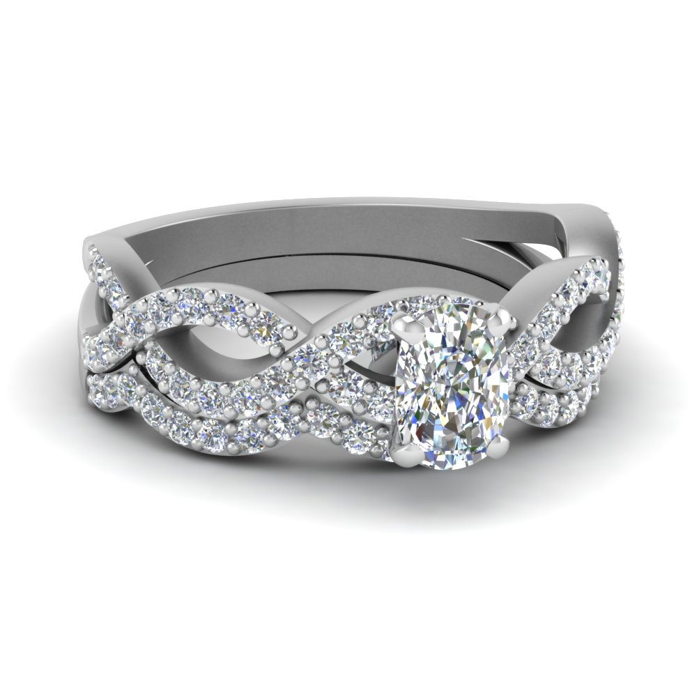 Intertwined Diamond Wedding Set