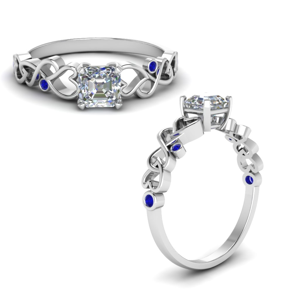 intertwined filigree asscher cut engagement ring with sapphire in FD8604ASRGSABLANGLE1 NL WG
