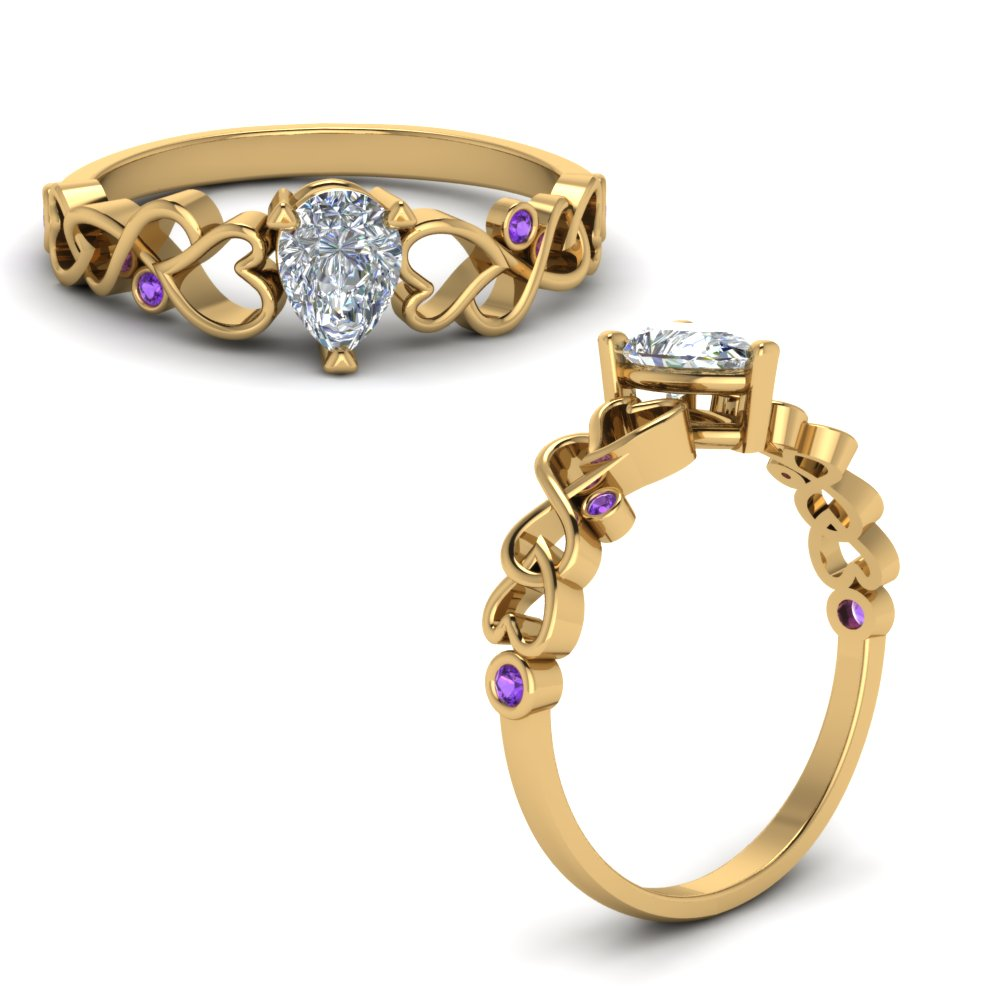 intertwined filigree pear shaped engagement ring with purple topaz in FD8604PERGVITOANGLE1 NL YG