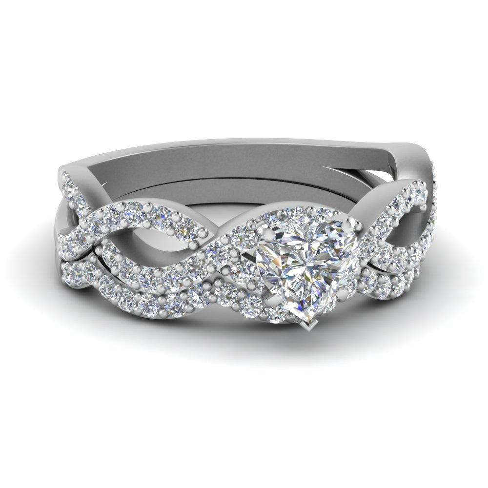 Intertwined Heart Diamond Wedding Ring Set In 14k White Gold