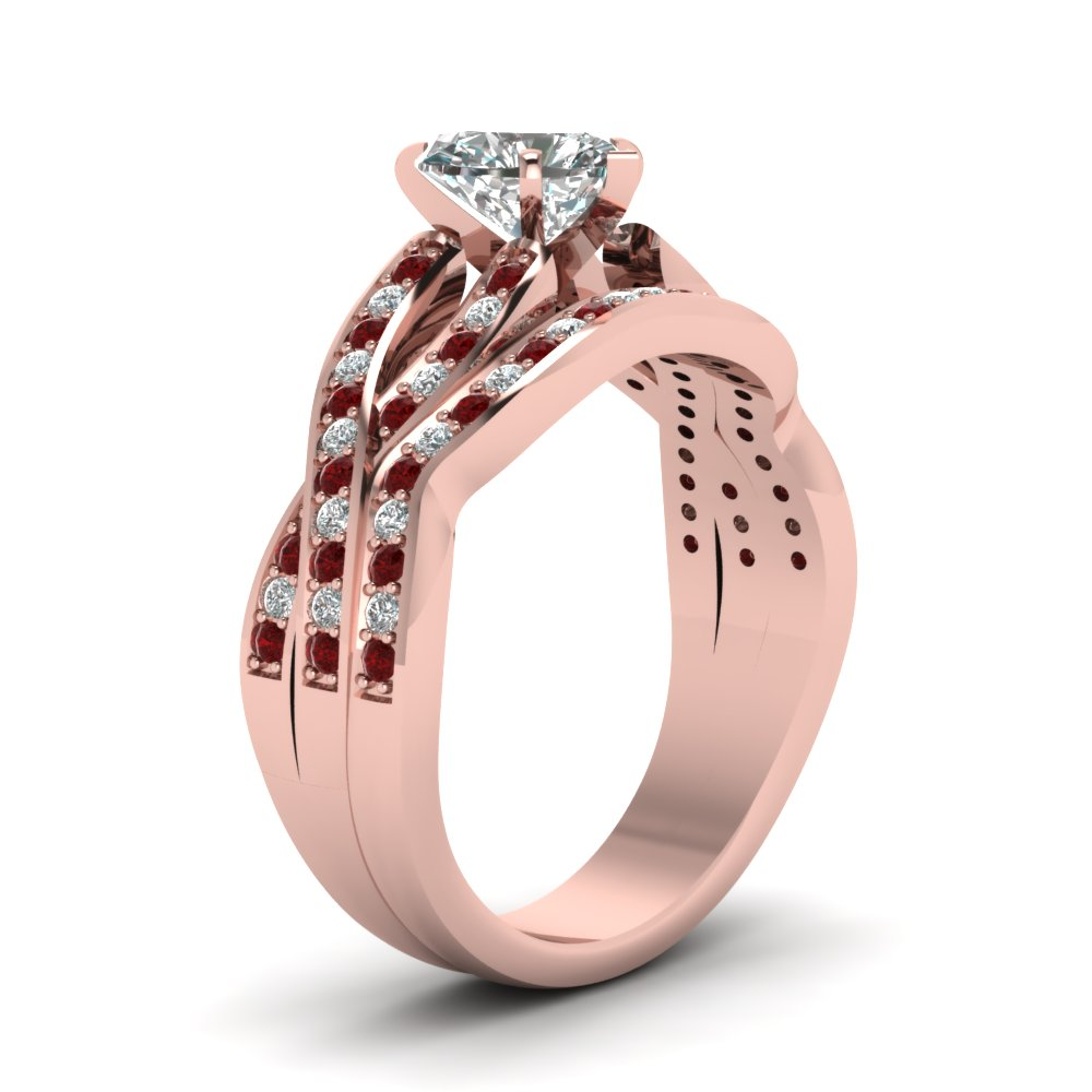 Intertwined Pave Split 1 Ct. Heart Shaped Diamond Wedding Ring Sets ...