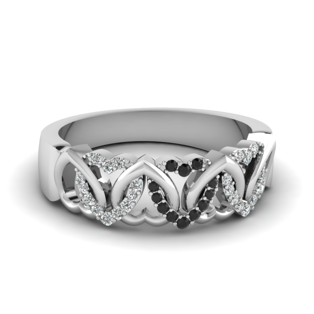 Interweaved Heart Design Diamond Band