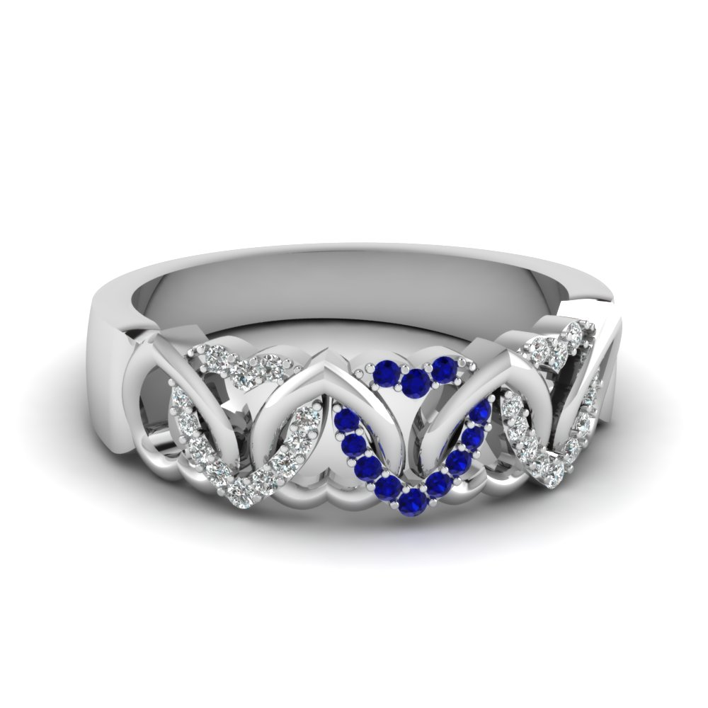 interweaved heart design diamond wedding band with sapphire in fd650081bgsabl nl wgjpg - Sapphire Wedding Rings