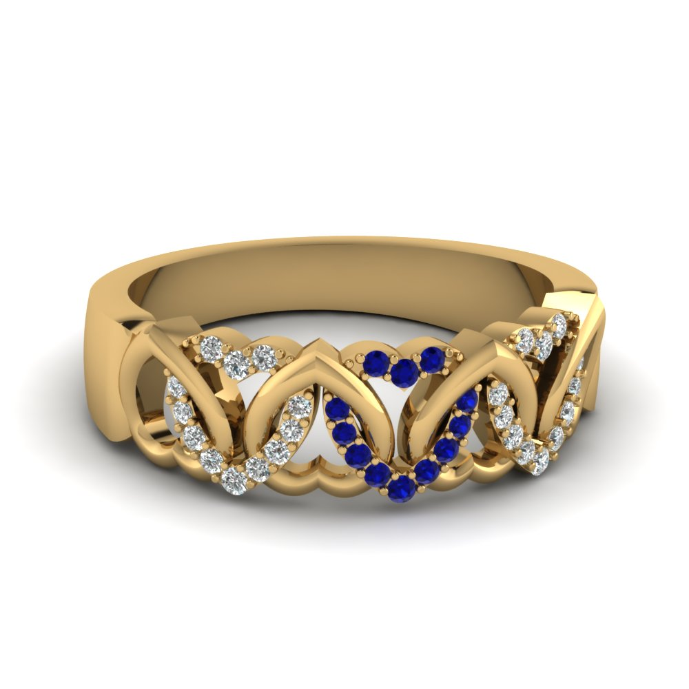 interweaved heart design diamond wedding band with sapphire in FD650081BGSABL NL YG.jpg