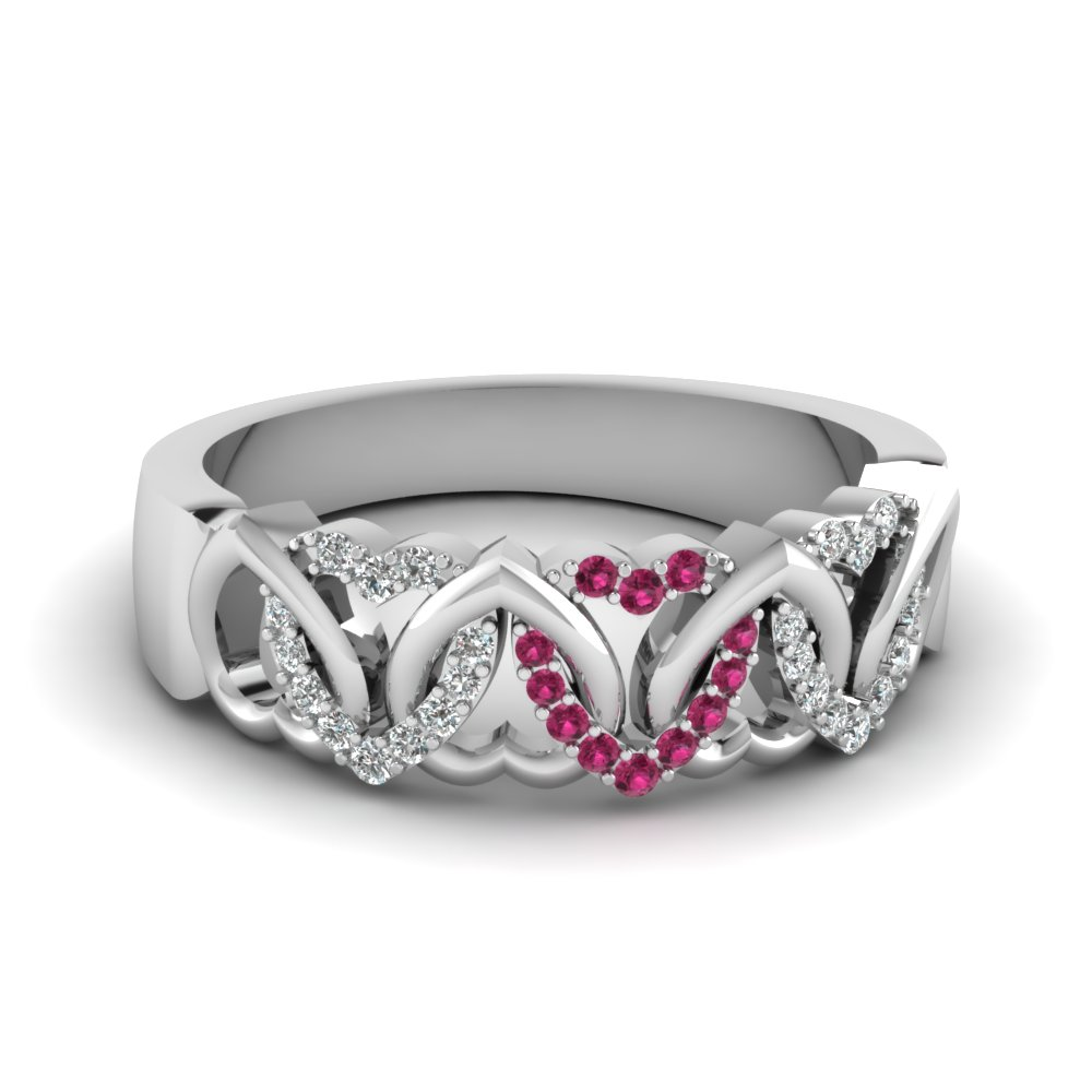 ring heart wedding product rings pink with double sapphire shape halo and shank twist