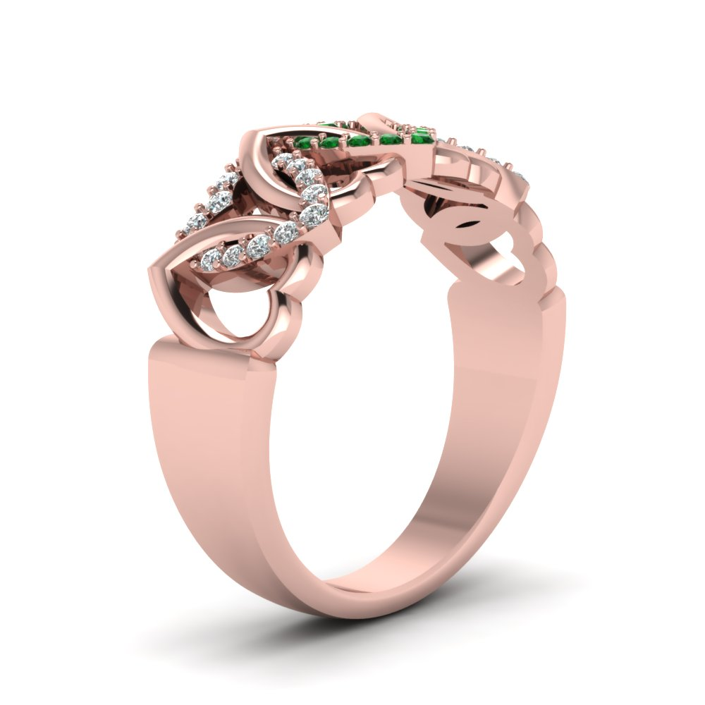 Interweaved Heart Design Diamond Wedding Band With Emerald In 14K ...