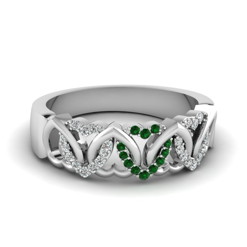 Interweaved Heart Design Diamond Wedding Band With Emerald In 14K White Gold