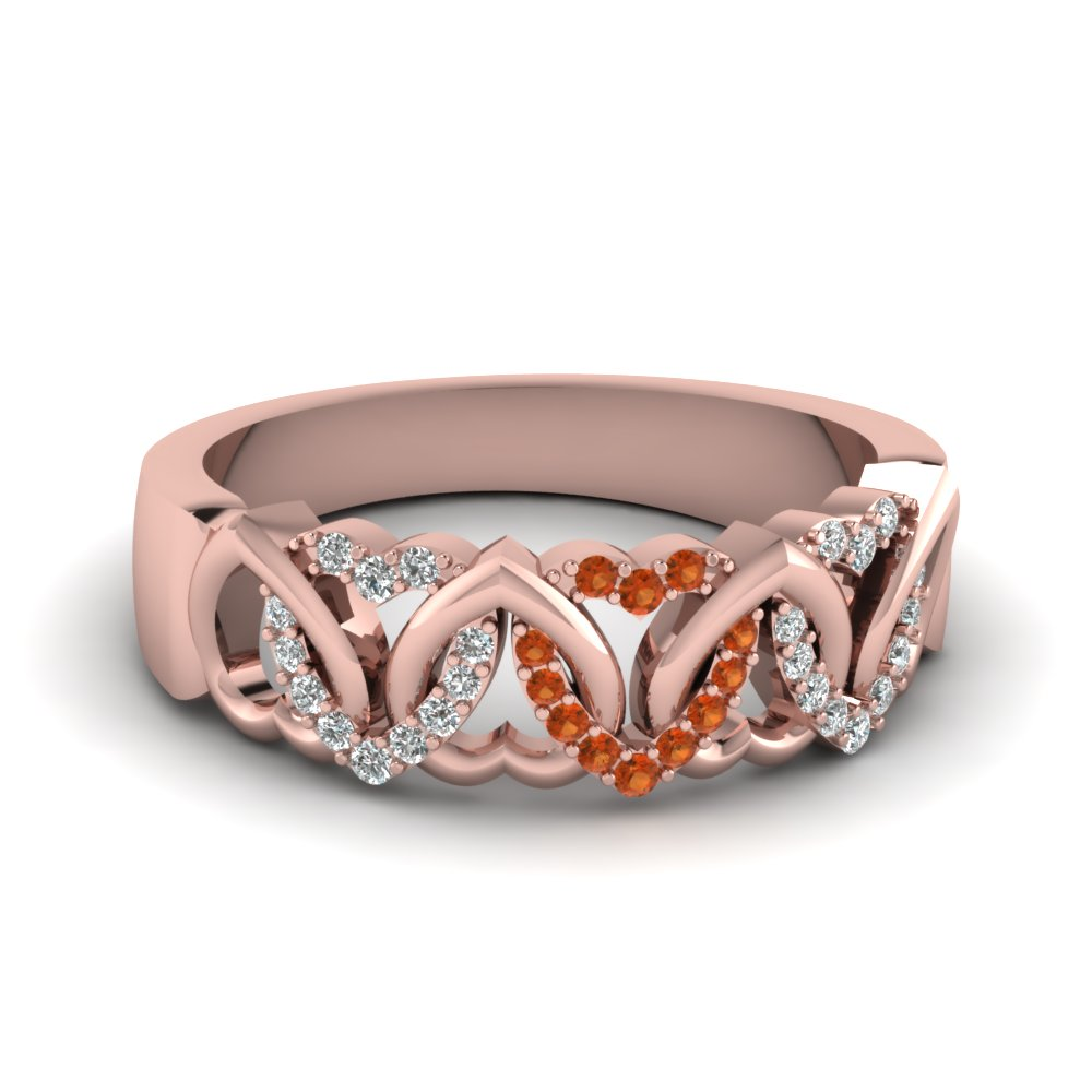 Heart Design Orange Sapphire Band