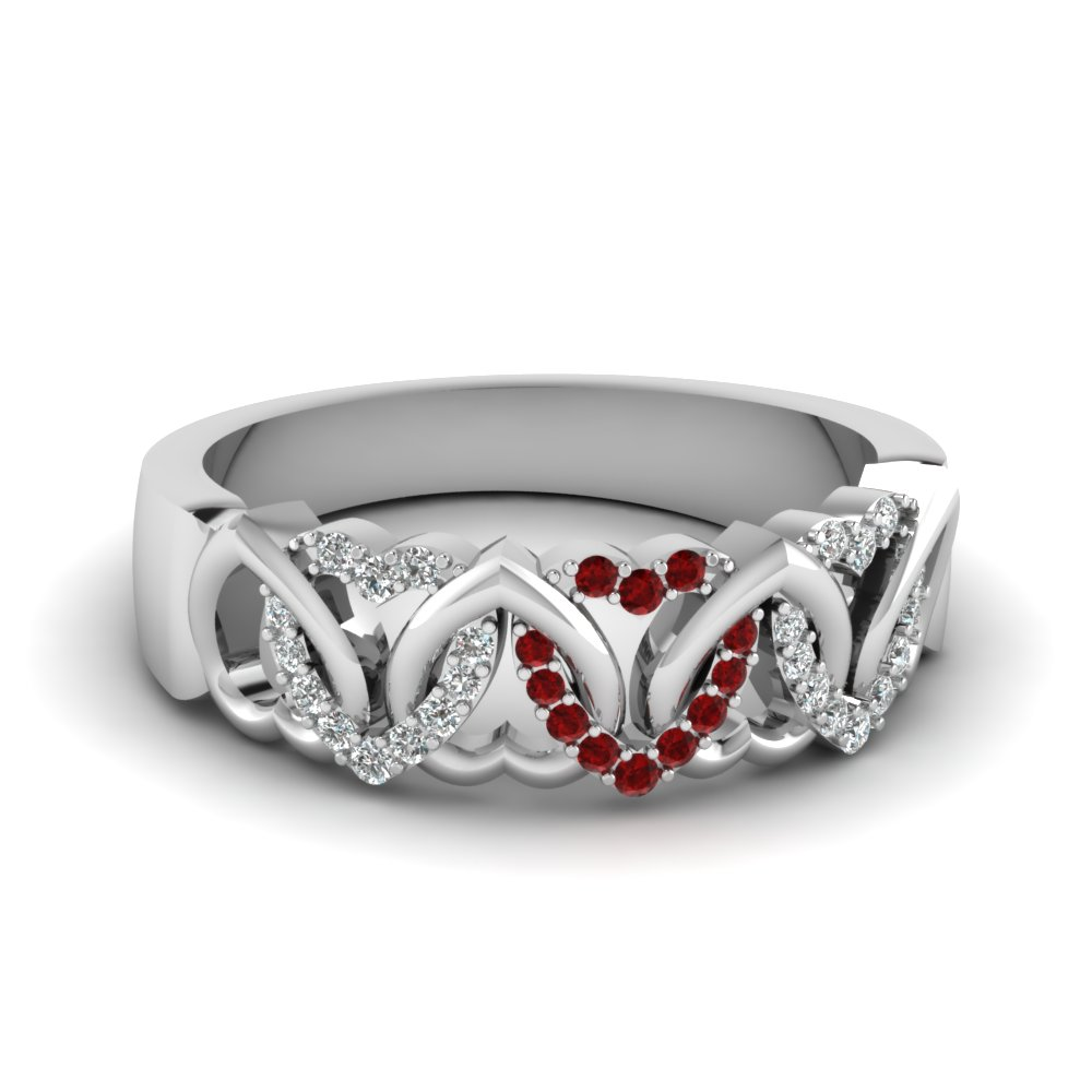 Round Diamond & Ruby Wedding Band