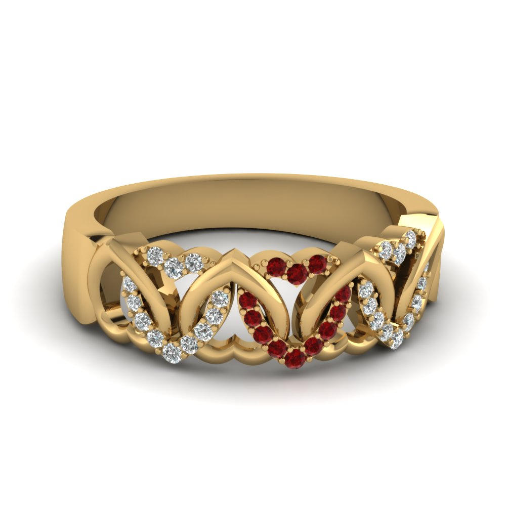 Interweaved Heart Design Ruby Band