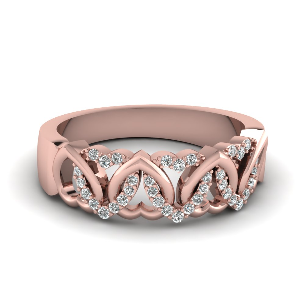interweaved heart design diamond wedding band in 14k rose. Black Bedroom Furniture Sets. Home Design Ideas