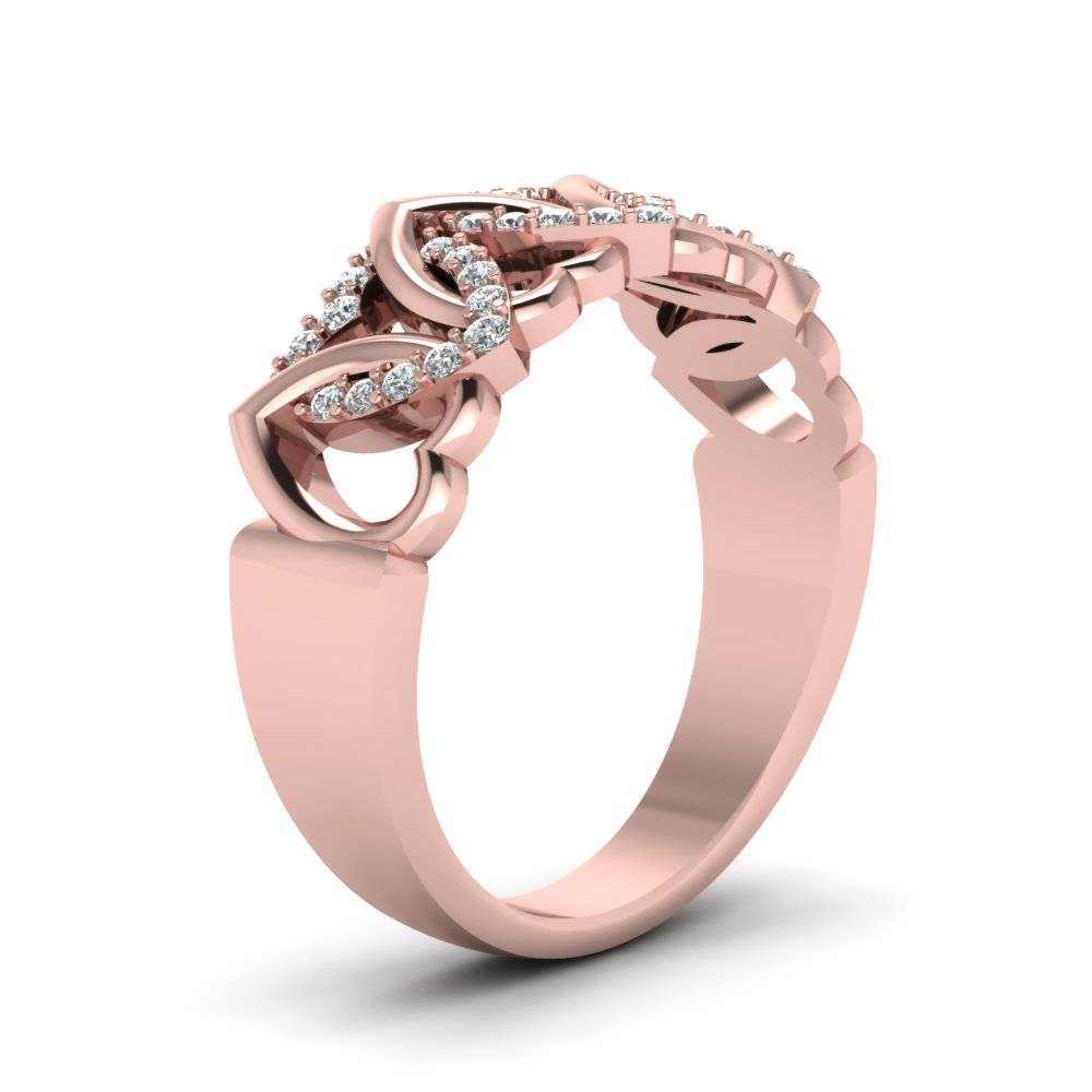 Interweaved Heart Design Diamond Wedding Band In 14K Rose Gold ...