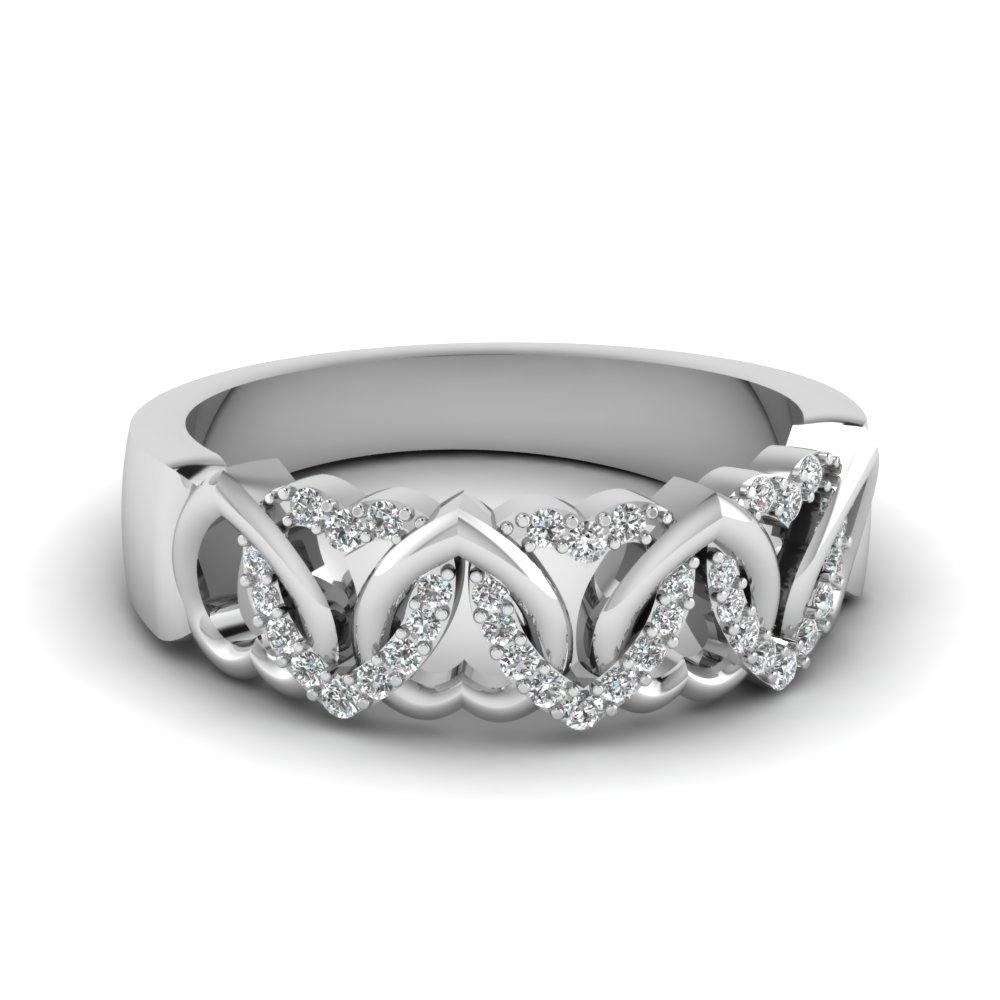 womens wedding bands with white diamond in 14k white gold