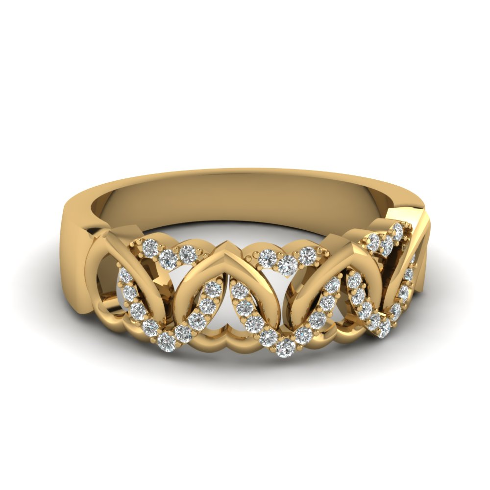 Womens Wedding Bands With White Diamond In 14K Yellow Gold