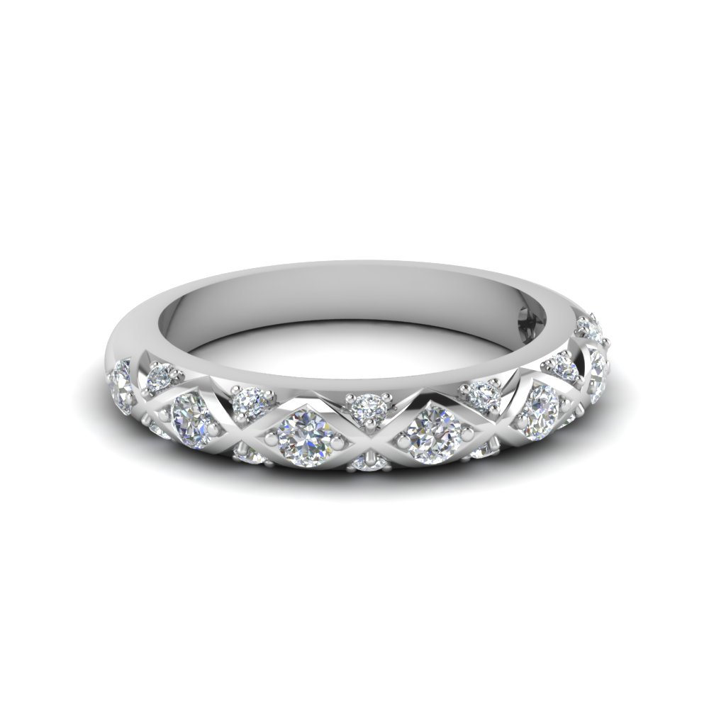 interwoven pave diamond wedding band for women in FDENS1482B NL WG