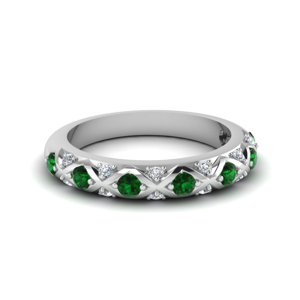 ef2319415 interwoven pave diamond wedding band for women with emerald in  FDENS1482BGEMGR NL WG