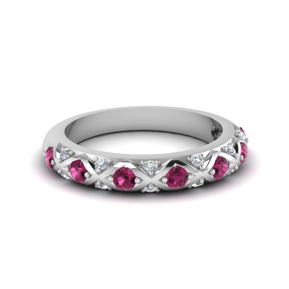 64b05b70a interwoven pave diamond wedding band for women with pink sapphire in  FDENS1482BGSADRPI NL WG