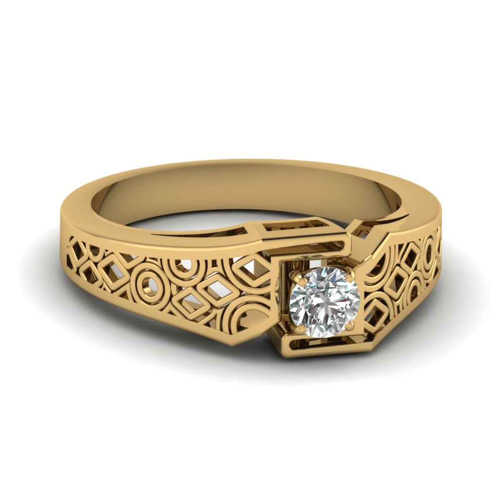 intricate wedding band gold clearance rings with white diamond in 14k yellow gold - Clearance Wedding Rings