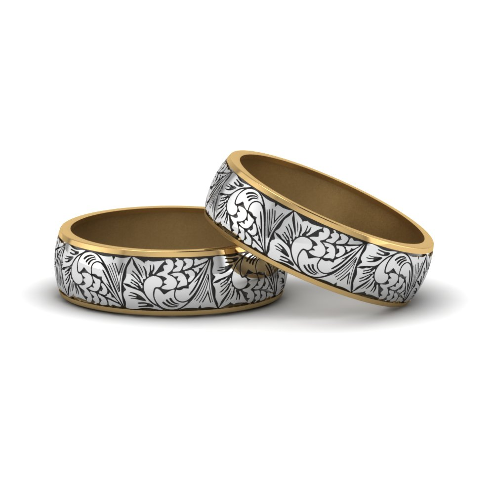14k Yellow Gold 2 Tone Rings For Intricate Pride Wedding