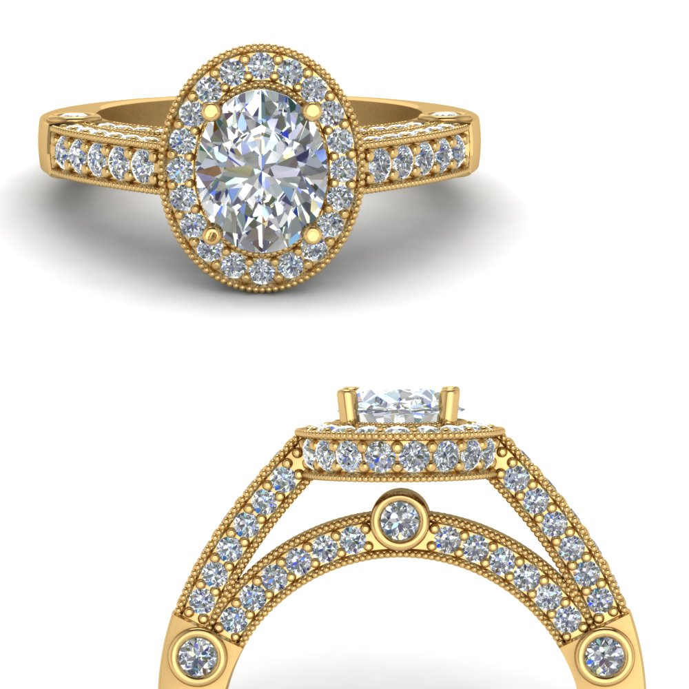 Intricate Oval Halo Antique Diamond Ring