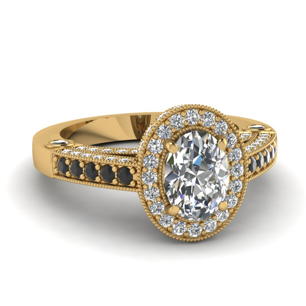 Intricate Oval Halo Antique Vintage Engagement Ring With ...