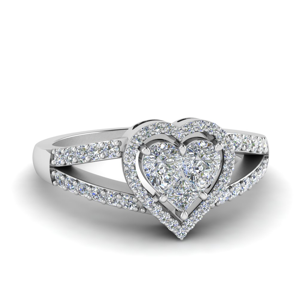 White Gold Heart Halo Diamond Ring