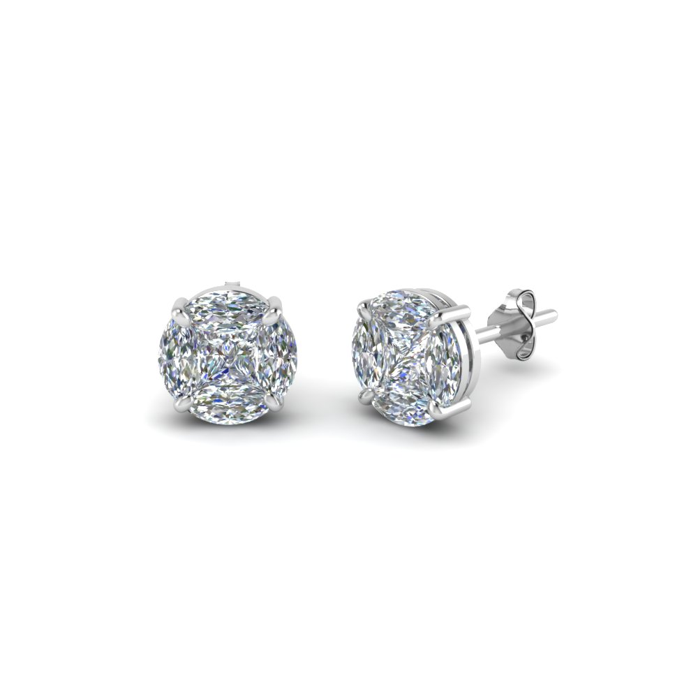 Invisible Set Diamond Stud Earring