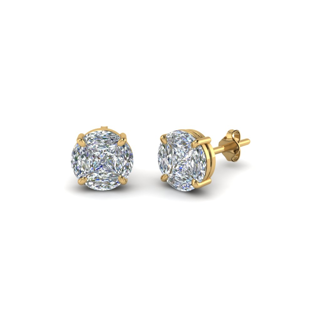 Invisible Set Round Diamond Stud Earring In 14K Yellow Gold