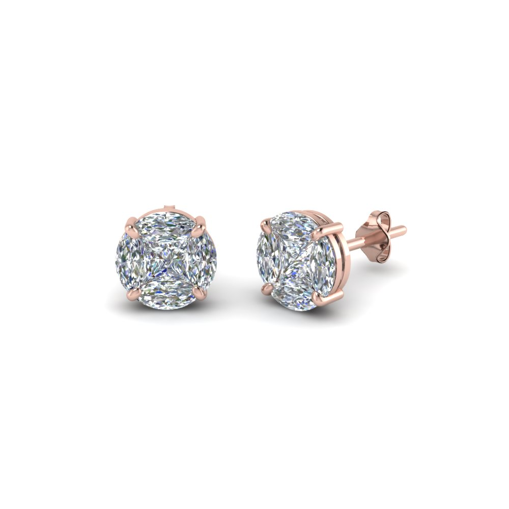 Invisible Set Round Diamond Stud Earring In Fdear8388 Nl Rg