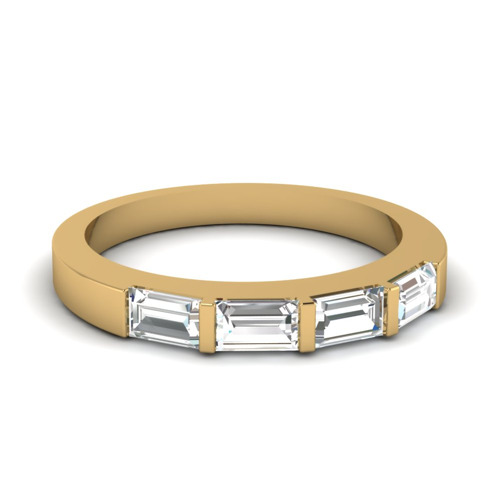 horizontal baguette wedding band in FDWB1419B NL YG