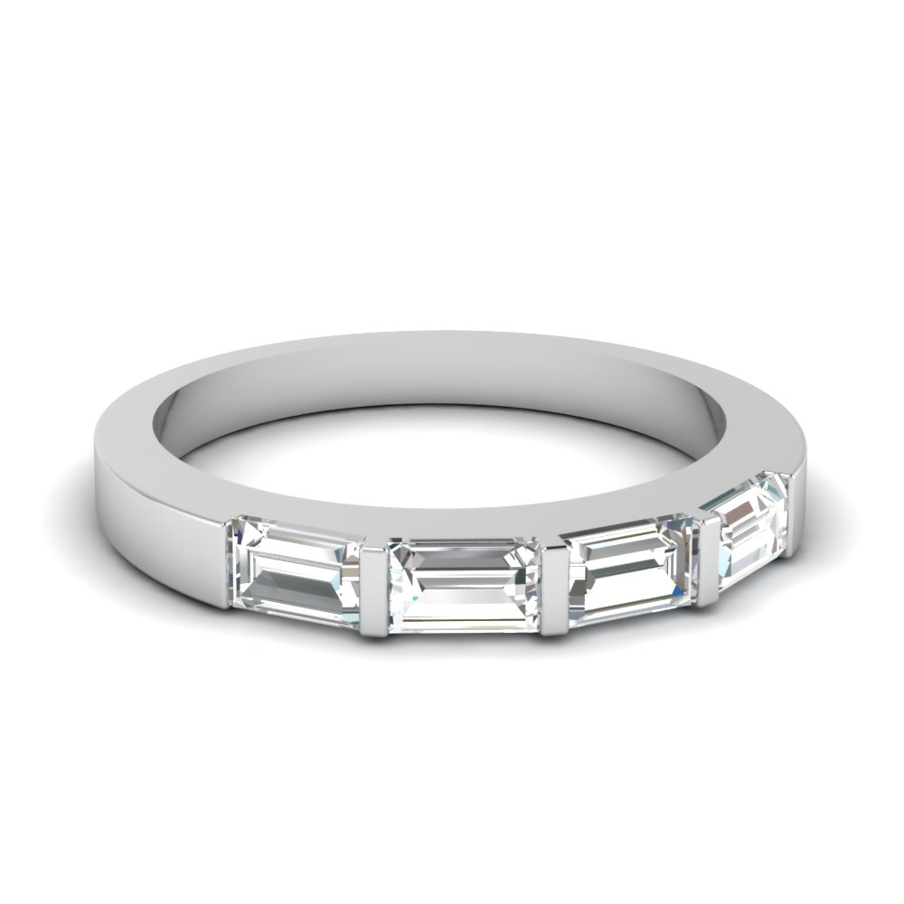 iridescent baguette wedding band with white diamond in