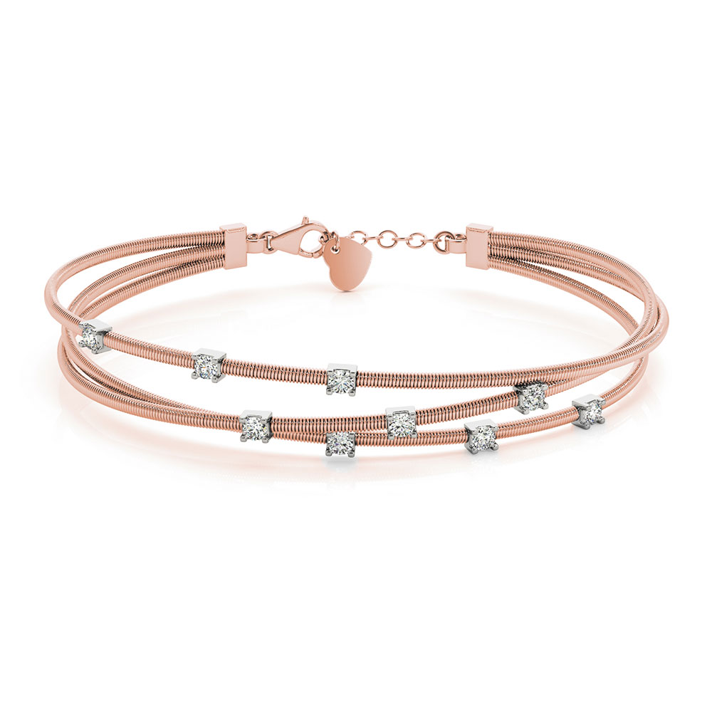 Italian Design Diamond Bracelet In 14K Rose Gold | Fascinating ...