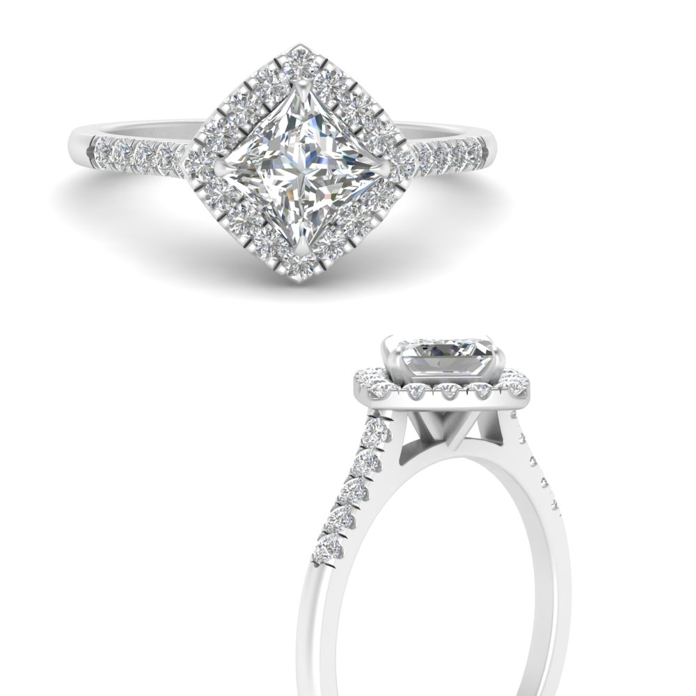 Low Set Diamond Halo Engagement Ring