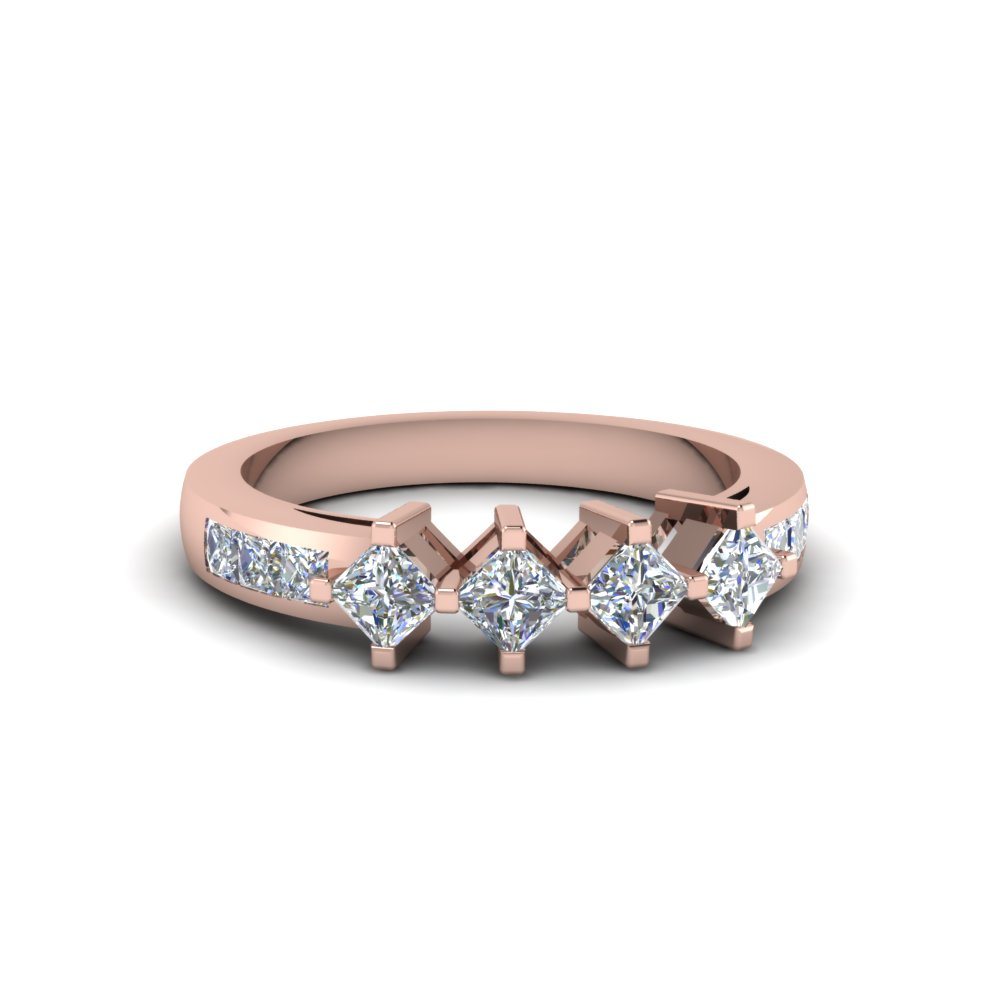 kite set princess cut diamond band in 14K rose gold FDENS208B NL RG