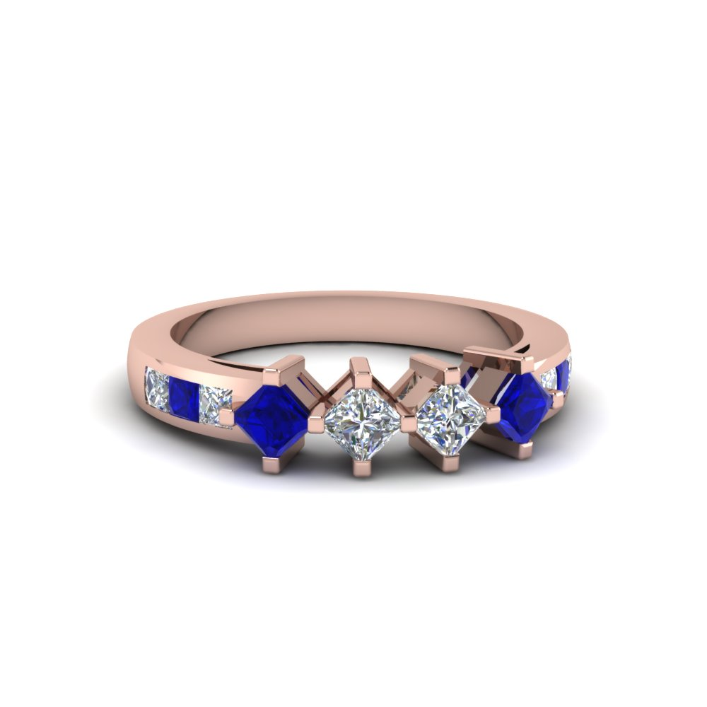 Princess Diamond And Sapphire Kite Ring