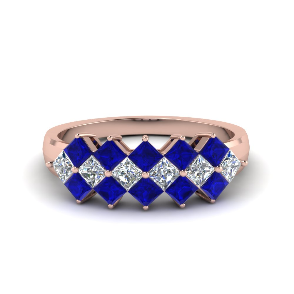 kite set princess cut diamond band with blue sapphire in 14K rose gold FDWB1056BGSABL NL RG
