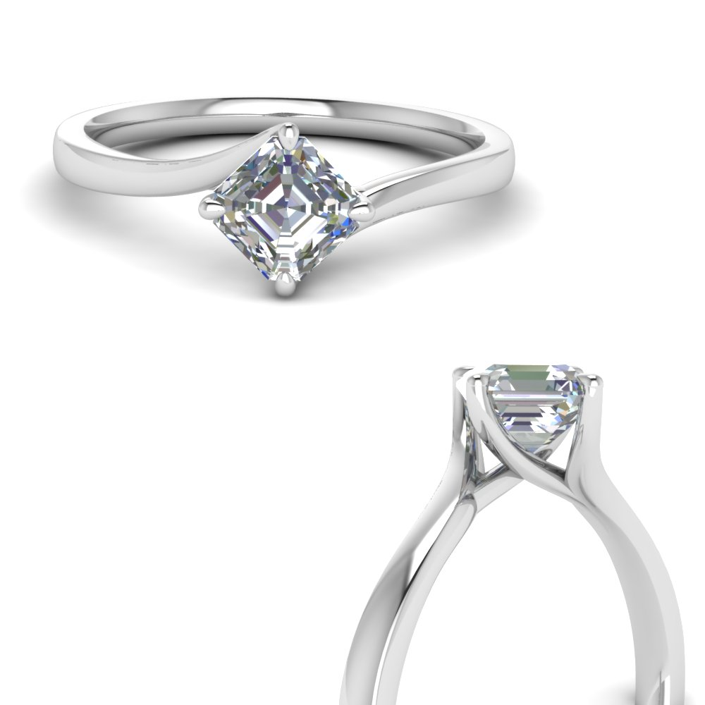 kite set swirl diamond asscher cut engagement ring in 14K white gold FDENRAS9009ANGLE3 NL WG