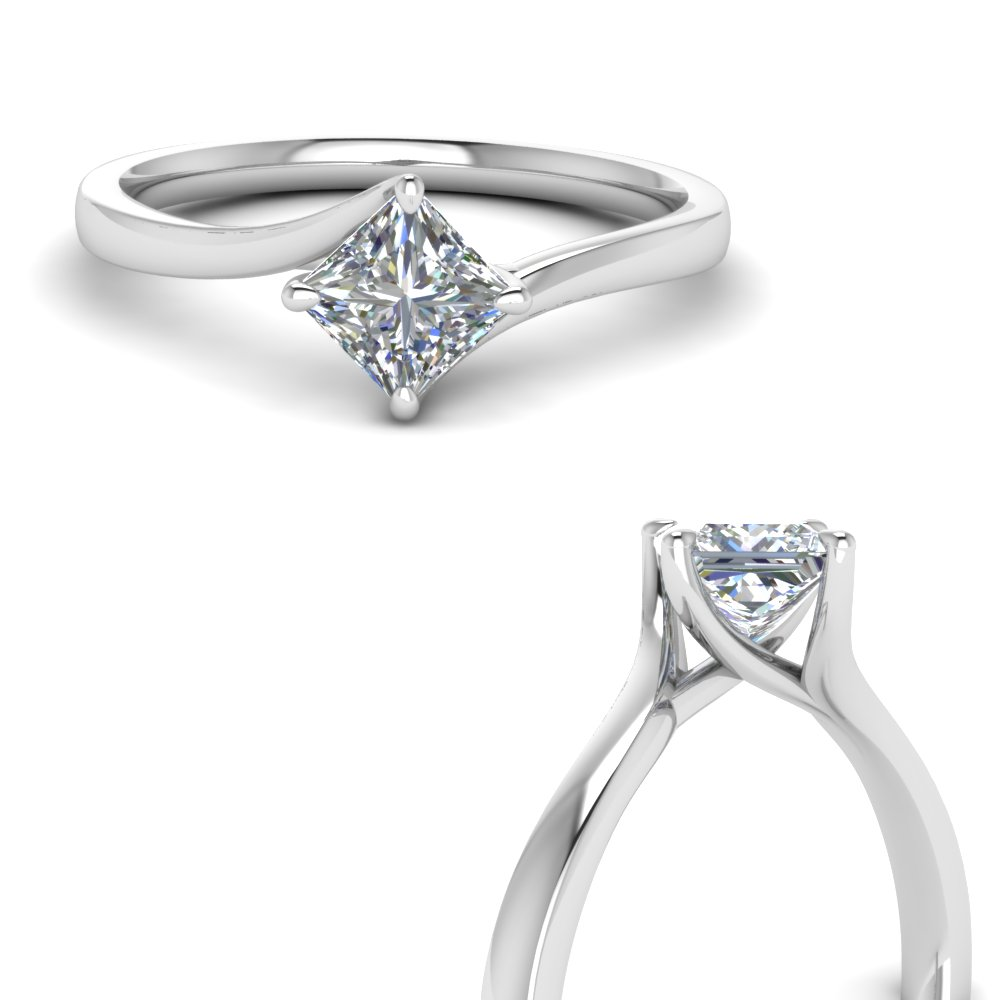 kite set swirl diamond princess cut engagement ring in 14K white gold FDENRPR9009ANGLE3 NL WG