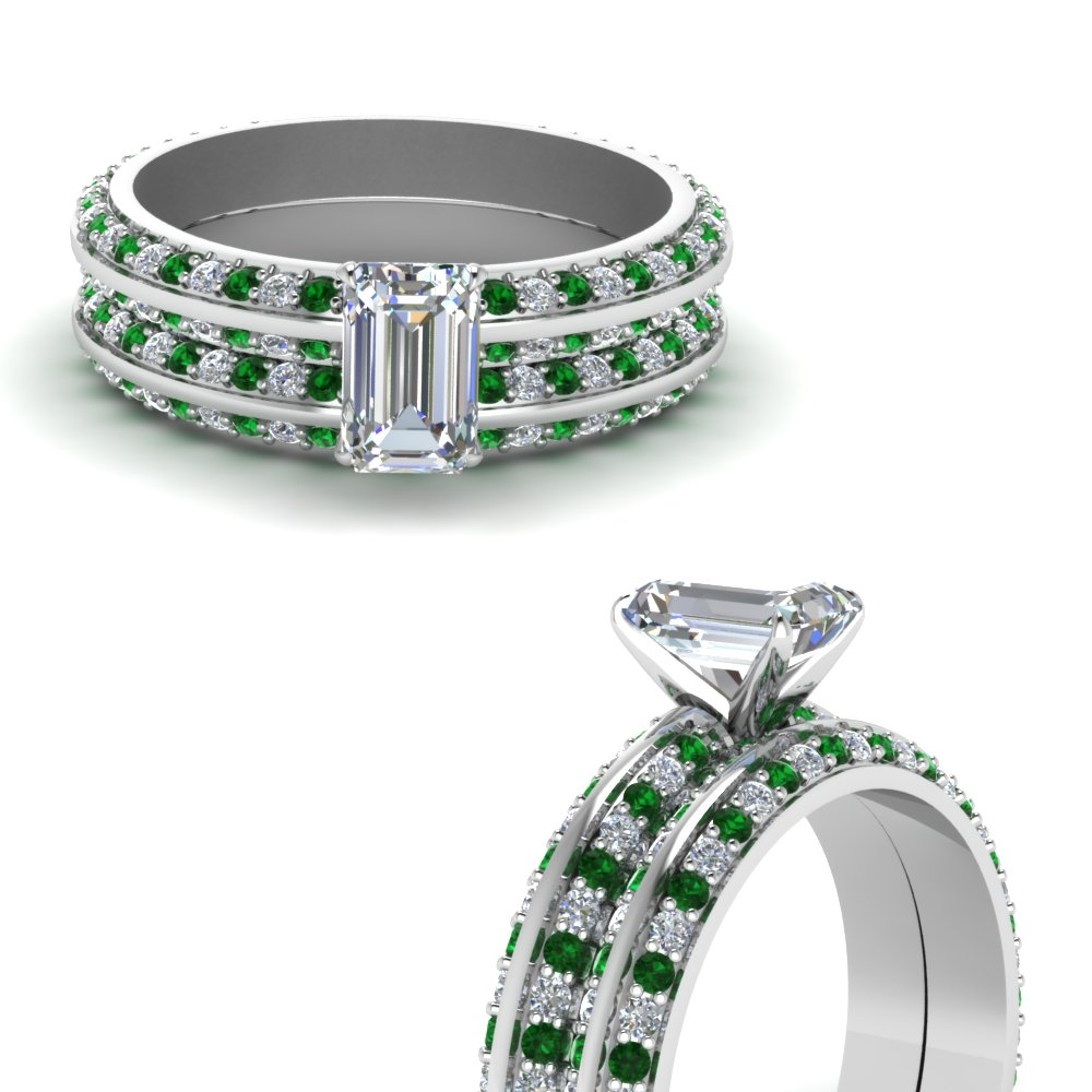 knife edge pave emerald cut diamond wedding set with emerald in FDENS1289EMGEMGRANGLE3 NL WG