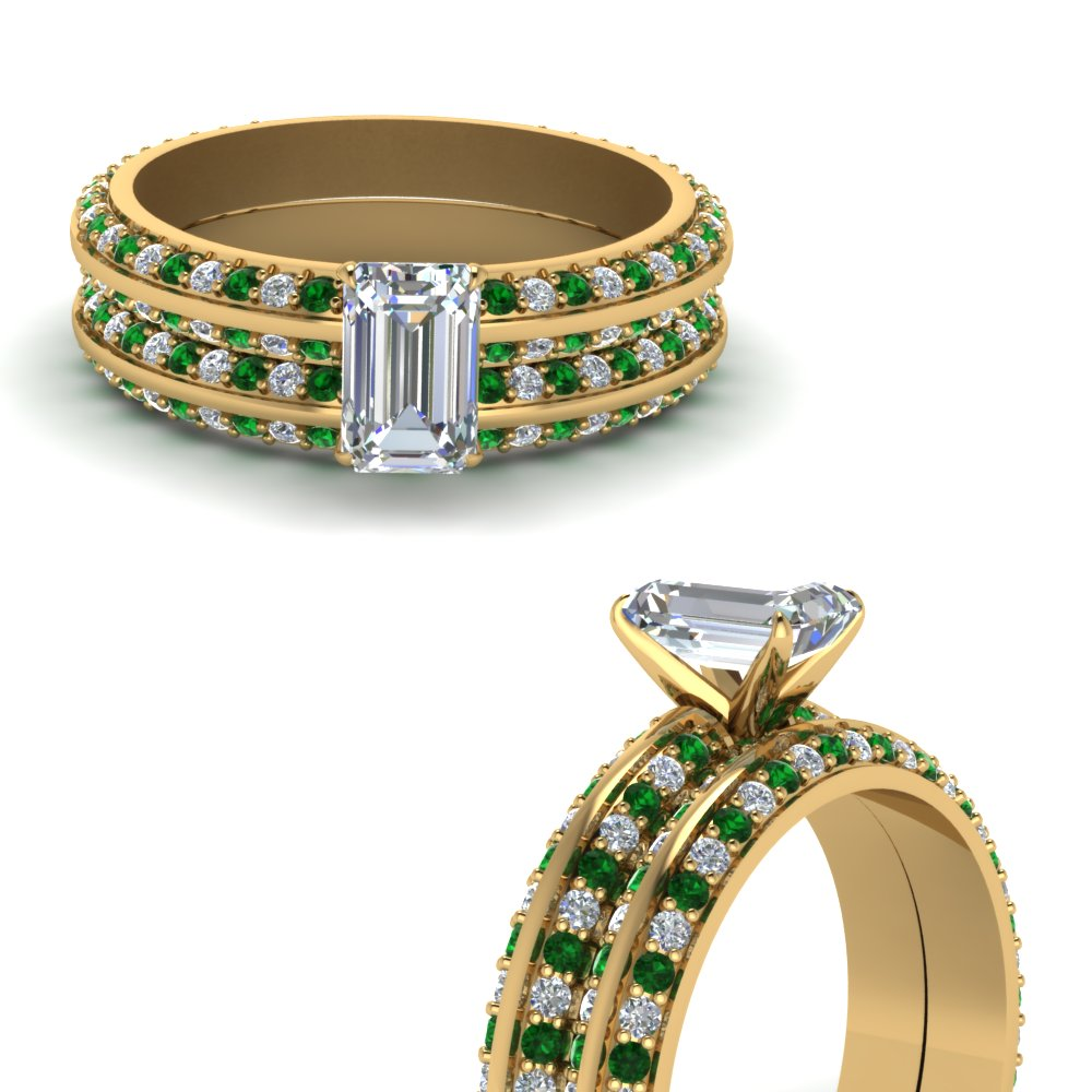 knife edge pave emerald cut diamond wedding set with emerald in FDENS1289EMGEMGRANGLE3 NL YG