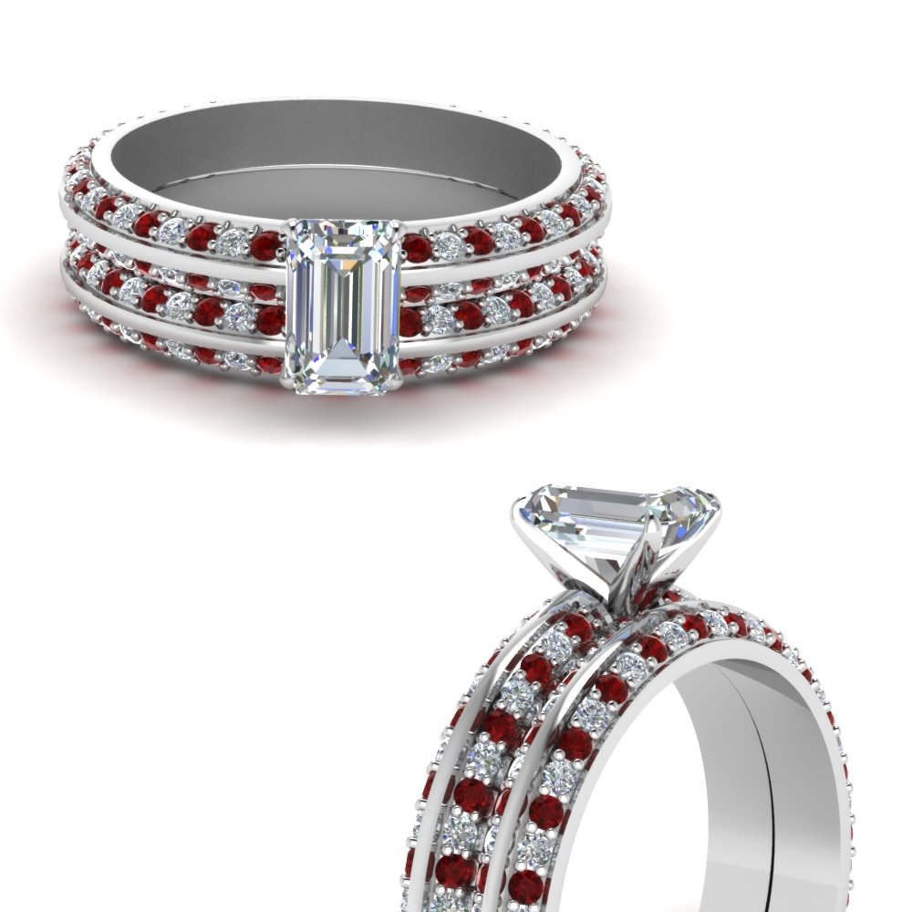 knife edge pave emerald cut diamond wedding set with ruby in FDENS1289EMGRUDRANGLE3 NL WG