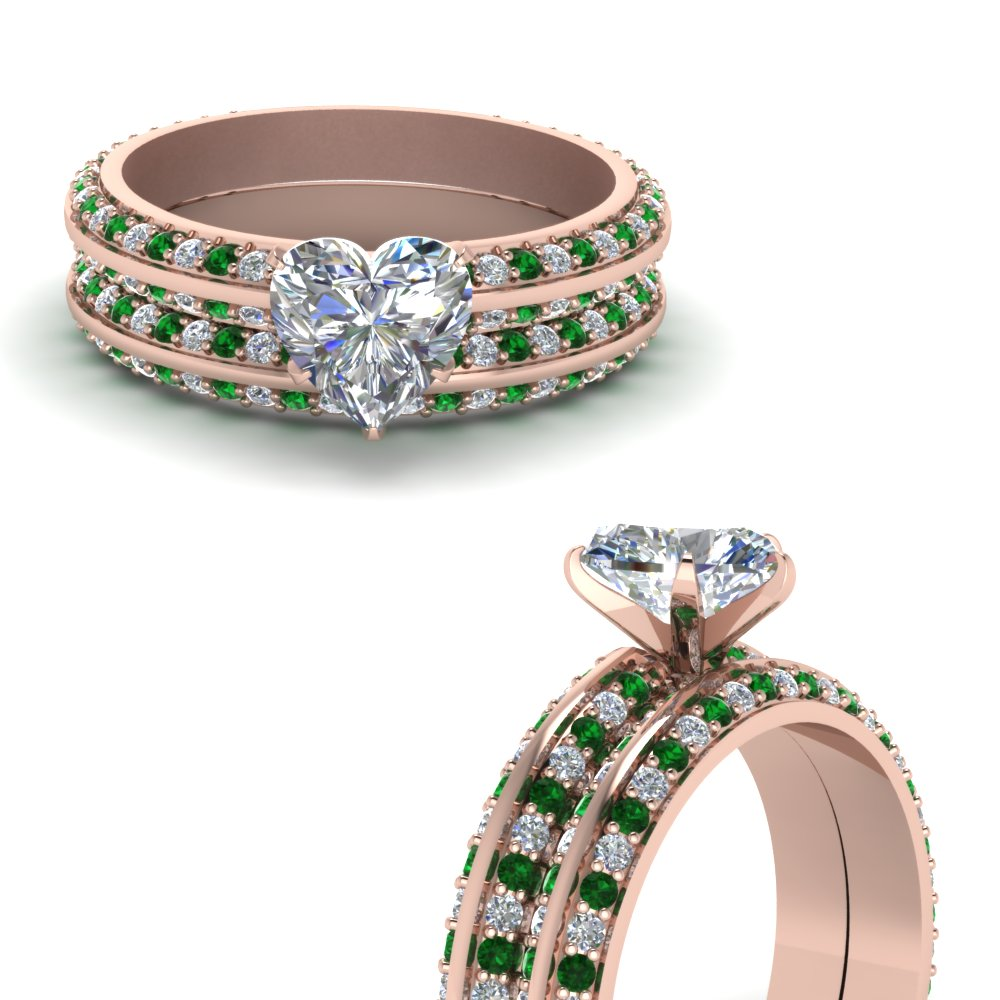 knife edge pave heart shaped diamond wedding set with emerald in FDENS1289HTGEMGRANGLE3 NL RG