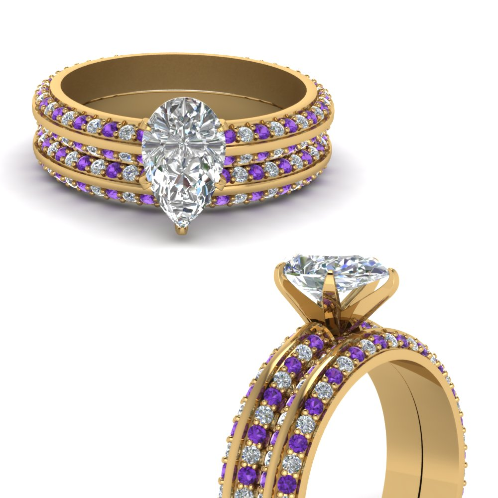 knife edge pave pear shaped diamond wedding set with violet topaz in FDENS1289PEGVITOANGLE3 NL YG