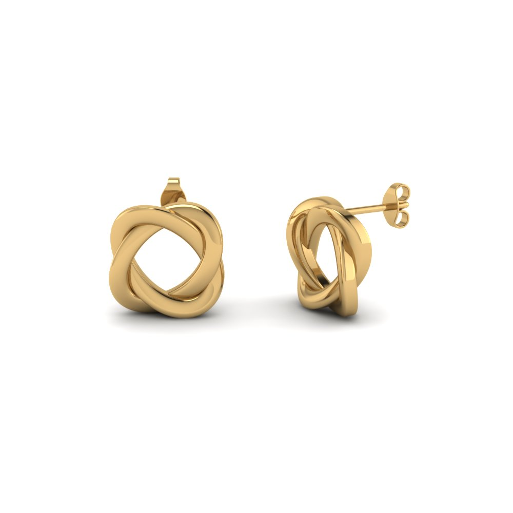 Knot Stud Earring For Women In 14K Yellow Gold | Fascinating Diamonds