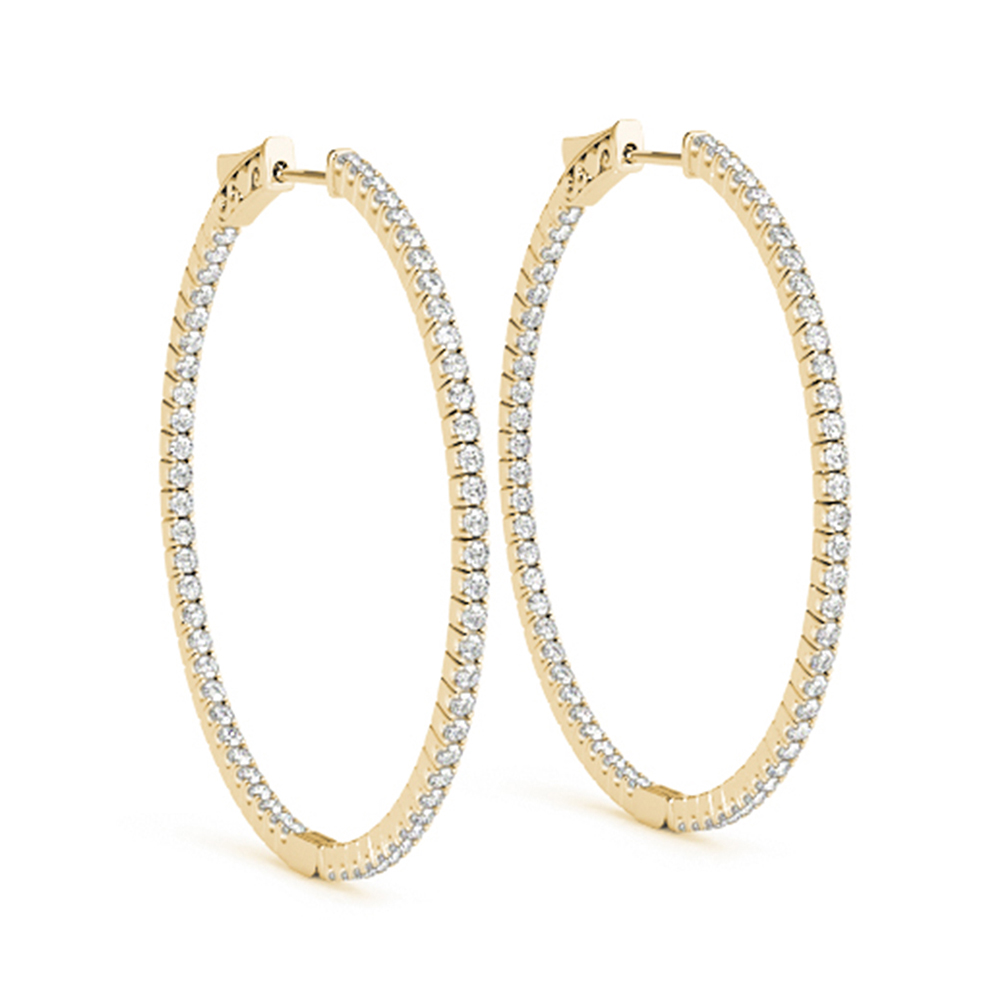 Large Hoop Earring Diamond Inside Out In 14K Yellow Gold ...