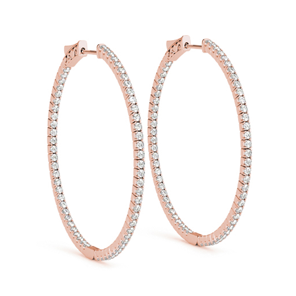 18K Rose Gold Hoop Diamond Earring