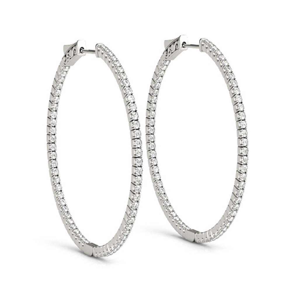Diamond Hoop Earring 18k White Gold