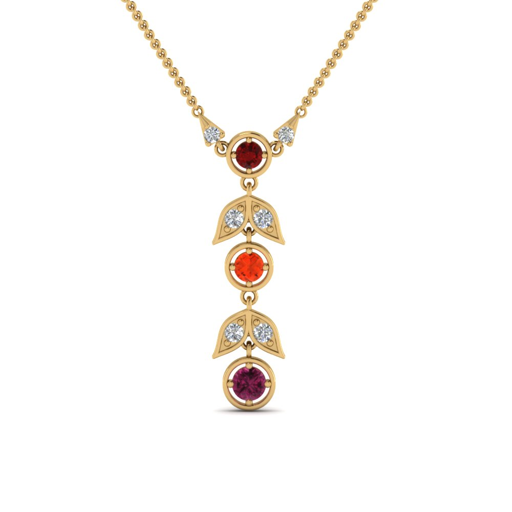 Leaf Birthstone Mothers Pendant In 18K Yellow Gold